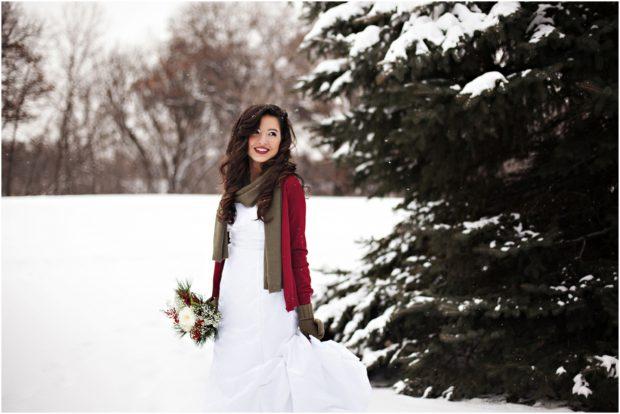 Невеста зимой в лесу