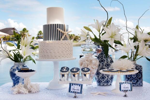 оформление стола на свадьбе в морском стиле