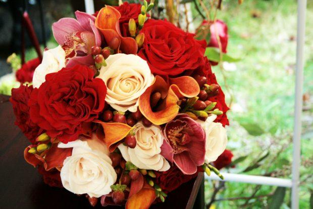 Свадебный букет на осенней свадьбе