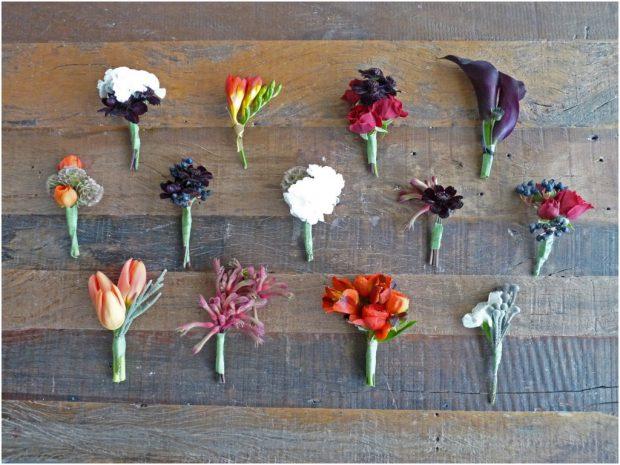 Бутоньерки из живых цветов