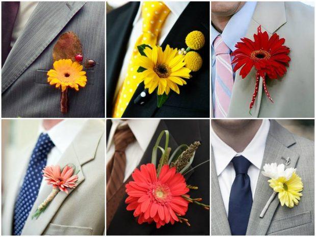 Бутоньерки жениху из живых цветов