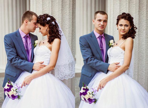 Жених и невеста в сиреневом