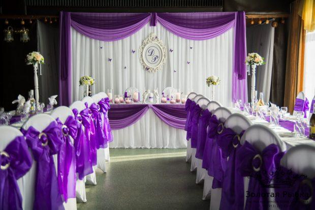 Оформление свадебного зала в сиреневом цвете
