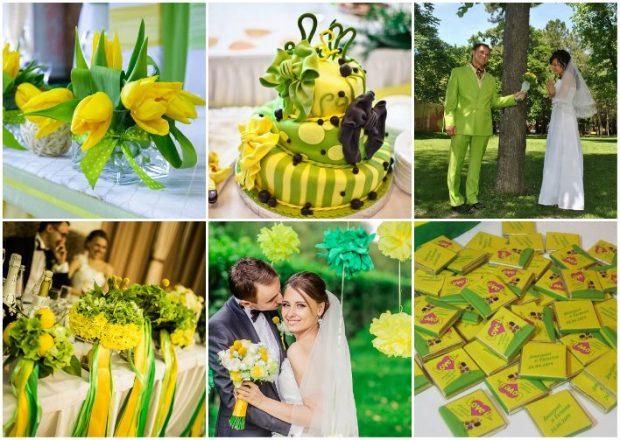 Оформление свадьбы в желто-зеленом цвете