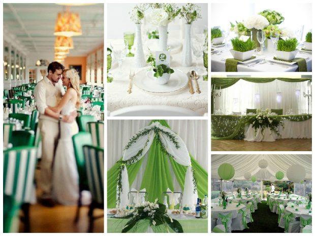 Оформление зала на зеленой свадьбе