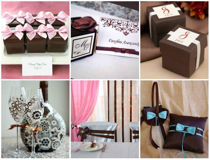 Аксессуары для свадьбы в шоколадном цвете