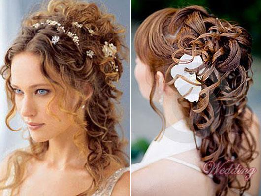 Свадебная прическа на кудрявые волосы