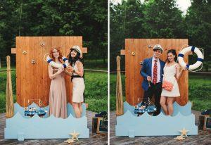 Фотозона в морском стиле на свадебном фуршете